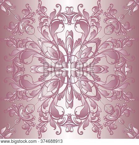 Vintage Vector Seamless Pattern. Old Renaissance Style Floral Background. Repeat Rose Pink Backdrop.