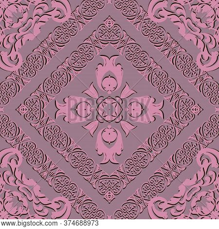 Damask Vector Seamless Pattern. Old Renaissance Baroque Style Floral Background. Repeat Rose Pink Ba