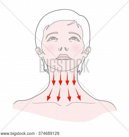 Self-massage Of The Neck. Woman With Her Head Thrown Back. Vector. Isolated On A White Background.