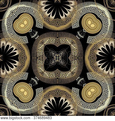 Floral Greek Vector Seamless Pattern. Abstract Background With Grunge 3d Flowers, Halftone Shapes, G