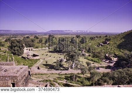 Rajasthan, India - October 06, 2012: Landscape Of A Surrounding Of Abandoned Cursed Ruined Fort In A