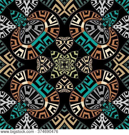 Greek Modern Vector Seamless Pattern. Abstract Tribal Ethnic Background. Repeat Colorful Backdrop. G