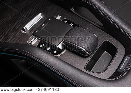 Novosibirsk/ Russia - April 21 2020:  Mercedes Benz Gle-class, Gear Shift. Automatic Transmission Ge