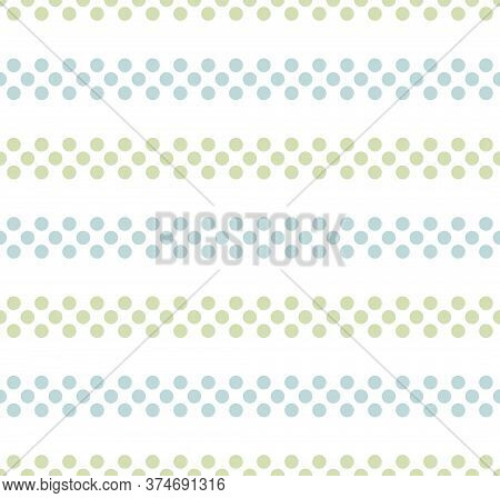 Blue And Green Seamless Horizontal Striped Pattern On White Background, Vector Illustration. Seamles