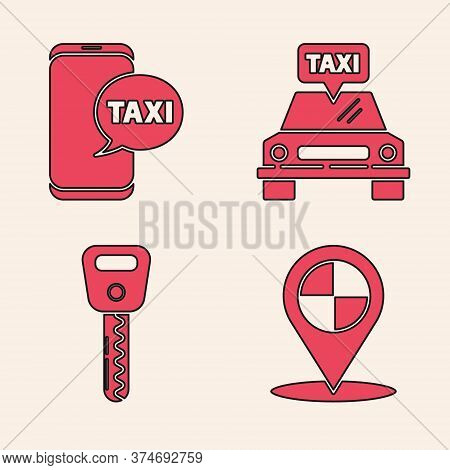 Set Map Pointer With Taxi, Taxi Call Telephone Service, Taxi Car And Car Key Icon. Vector