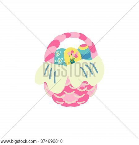 Hand Drawn Vector Illustration Of A Nice Wicker Basket With Colorful Eggs Isolated On White Backgrou