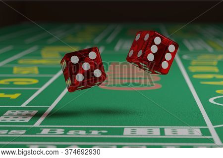 Close Up Of Dice Rolling On A Craps Table. Random Concept.