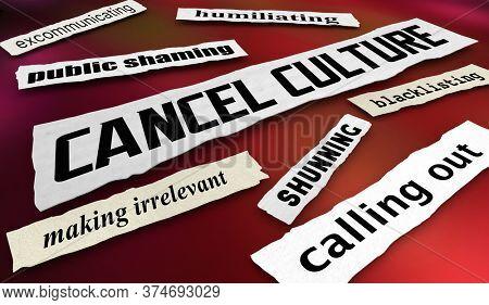 Cancel Culture Newspaper Headlines Public Shaming Humiliation 3d Illustration