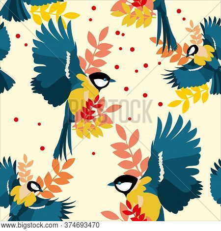 Dynamic Repetitive Autumn Pattern With Soaring Birds