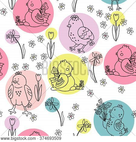 Vector Seamless Pattern With Different Cute Easter Chickens, Daffodils, Tulips And Daisies. Great Pr