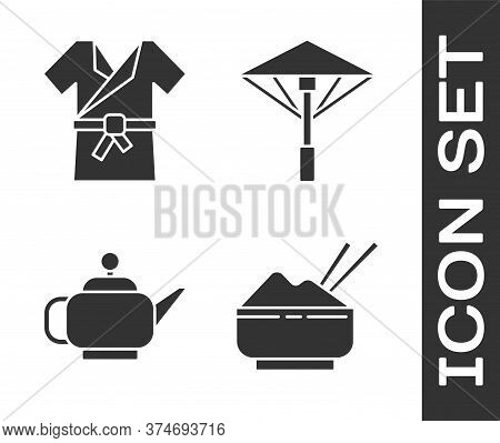Set Rice In A Bowl With Chopstick, Japanese Costume Kimono, Japanese Tea Ceremony And Japanese Umbre