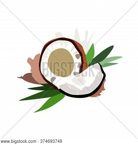 Coconut Pieces With Palm Leaves, Vector Set Of White Coconut.vector Illustration Of A Fruit Coconut,
