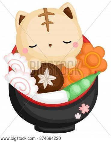 A Vector Of Cute And Sleepy Cat Inside The Japanese Ramen Bowl