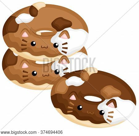 A Vector Of Cute Cat Stack Of Sweet Donuts With Chocolate Topping