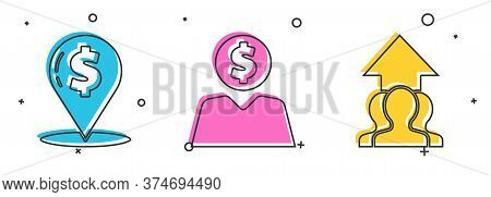 Set Cash Location Pin, Business Man Planning Mind And Growth Chart And Progress In People Crowd Icon