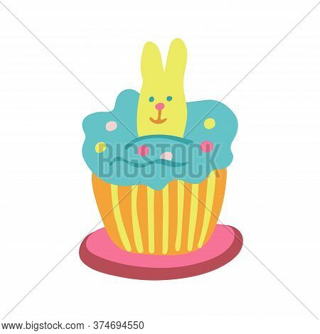 Easter Cupcake Decorated With A Rabbit Biscuit, Jelly Beans And Color Whipped Cream. Hand Drawn Vect