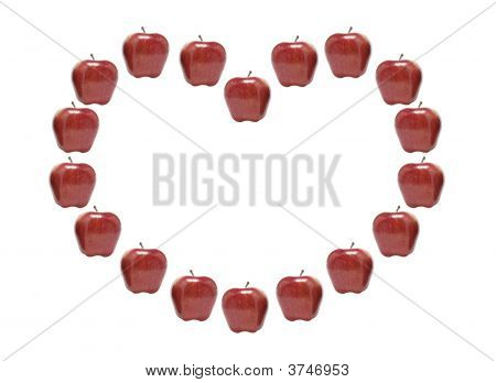 Red Apples in Heart Shape on White Background poster
