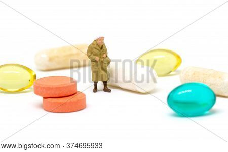 Old Lady Seeking For Pil On White Background. Medical Prescription Healthcare Expense. Medical Insur