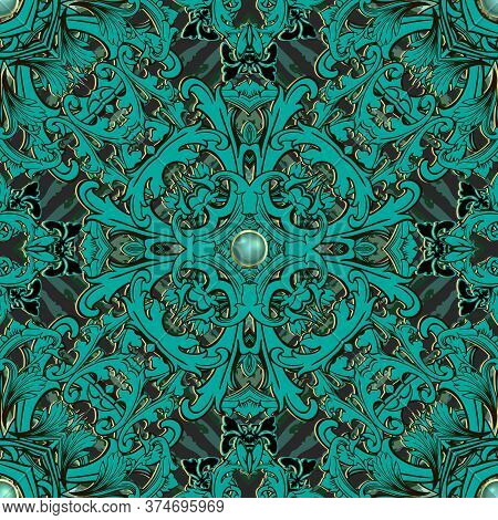 Beautiful 3d Baroque Seamless Pattern. Textured Grunge Ornamental Background. Repeat Vector Jewelry