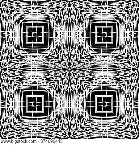 Doodle Lines Geometric Seamless Pattern. Vector Ornamental Plaid Background. Repeat Symmetrical Futu
