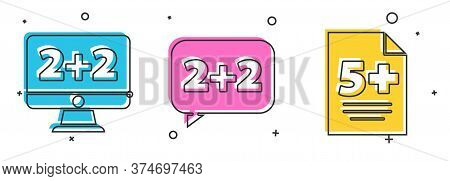 Set Equation Solution, Equation Solution And Test Or Exam Sheet Icon. Vector