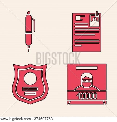 Set Wanted Poster, Pen, Lawsuit Paper And Police Badge Icon. Vector