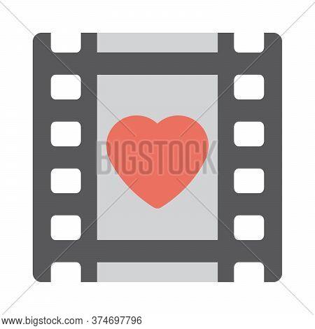 Romantic Movie Icon. Love Film Sign. Flat Icon Design For Perfect Multimedia Concept.