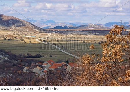 Mountain Valley Of Dinaric Alps On A Winter Day. Balkan Road Trip. Bosnia And Herzegovina, Republika