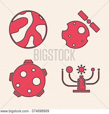 Set Solar System, Planet, Satellites Orbiting The Planet Earth And Planet Icon. Vector