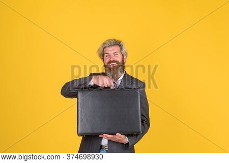 Business Suitcase. Office Worker. Smiling Businessman With Suitcase. Ceo. Bearded Businessman In Sui