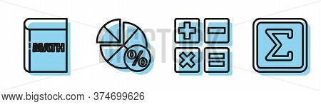 Set Line Feather And Inkwell, Triangle Math, Equation Solution And Geometric Figure Square Icon. Vec