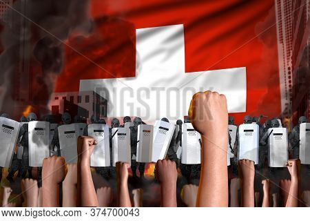 Riot Fighting Concept - Protest In Switzerland On Flag Background, Police Guards Stand Against The A