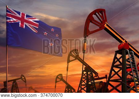 New Zealand Oil Industry Concept, Industrial Illustration. New Zealand Flag And Oil Wells And The Re