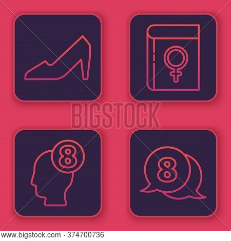 Set Line Woman Shoe, 8 March In Human Head, Book About Women And 8 March In Speech Bubble. Blue Squa