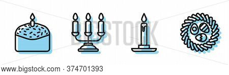 Set Line Burning Candle In Candlestick, Easter Cake And Candle, Candelabrum With Candlesticks And Ea