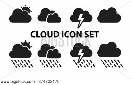 Cloud Set Icon, Cloud Black Icon Vector Eps