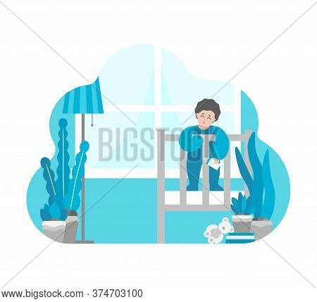 Vector Flat Illustration With Simplified Cartoon Character Of Little Baby. Happy Child Stays With Mi