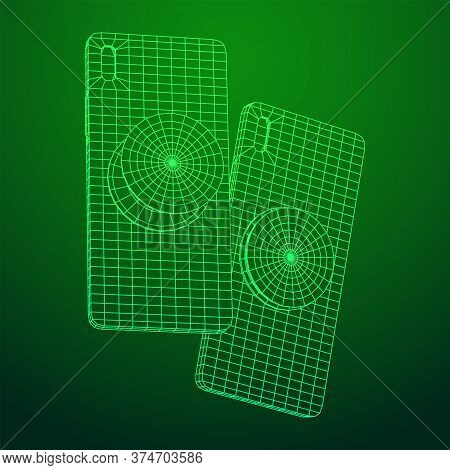 Smartphone Cellphone Pop Socket Holder. Wireframe Low Poly Mesh Vector Illustration.