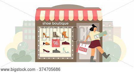 Shoe Boutique Facade Flat Composition With Shop Window Display Happy Customer Exits Store With Shoeb