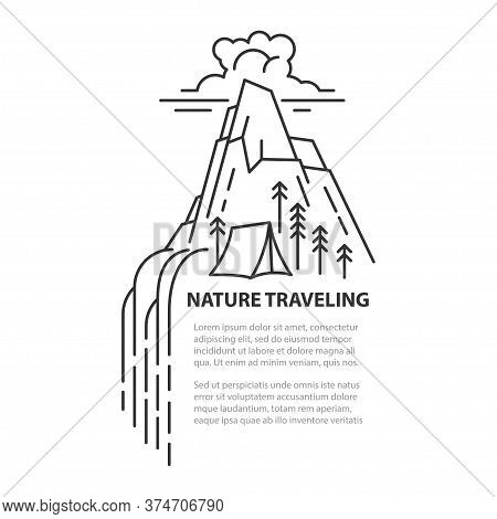Waterfall In Mountain With Tent. Line Art Template Isolated On White Background. With Place For Text