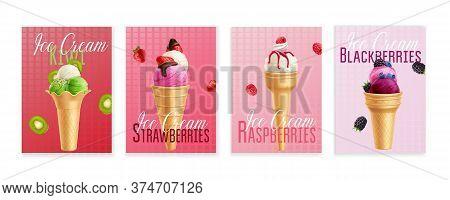 Raspberry Kiwi Strawberry Blackberry Sorbet Ice-cream Scoops In Waffle Cones 4 Realistic Advertising