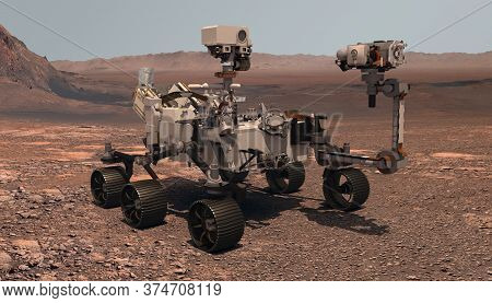 Mars. The Perseverance Rover Deploys Its Equipment Against The Backdrop Of A True Martian Landscape.