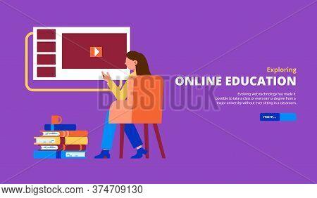 Woman Exploring Online Education Programs Courses Classes Lessons Tutorials Flat Horizontal Violet B