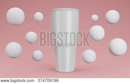 Blank Stainless Steel Tumbler With Lid For Branding Mock Up. 3d Render Color Background
