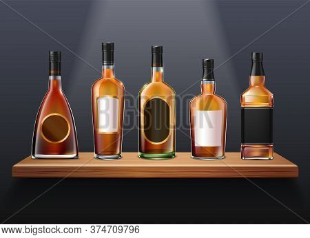 Brandy Cognac Whiskey Set Of Realistic Glass Bottles Of Different Shape On Wooden Shelf With Labels