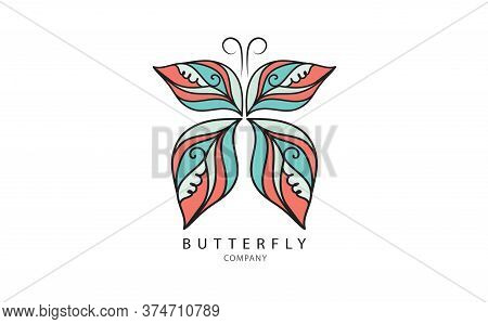 Butterfly logo vector template for cosmetic, beauty, spa. Black and white hand drawn butterfly illustration. vintage style, spa logo, beauty, logo, Butterfly logo design, animal logo, Butterfly cartoon, Butterfly icon