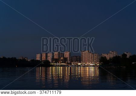 Evening At Dnipro River. View On Poznyaki District At Left Side Of Dnieper. August, 2019. Kiev, Ukra