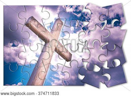 Rebuild Our Faith Or Losing Faith - Christian Cross Against A Cloudy Sky - Concept Image In Jigsaw P