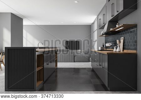 Interior Of Modern Living Room With Gray Walls, Concrete Floor, Countertops With Built In Cooker, Co