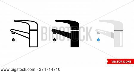 Faucet Icon Of 3 Types. Isolated Vector Sign Symbol.